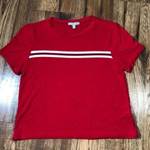 Charlotte Russe red striped cropped T-shirt small